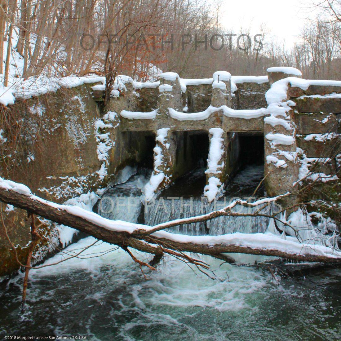 photography, Old Mill Dam, water, winter, snow, woods, abandoned, stream,