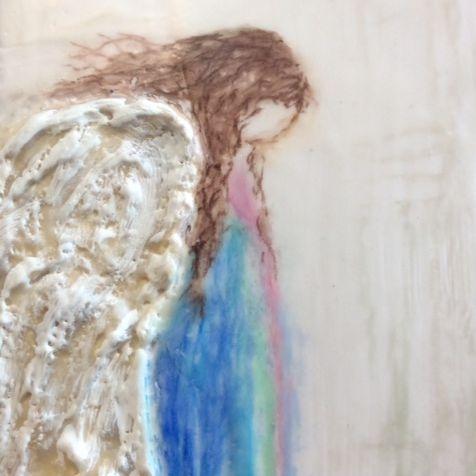 Encaustic Angel on Cradled Birch, by Barbara Polc