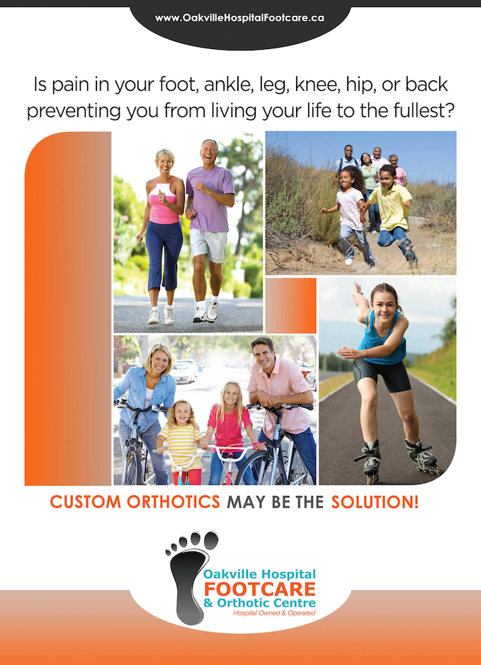 Images of Active Families Ad promoting Custom Orthotics