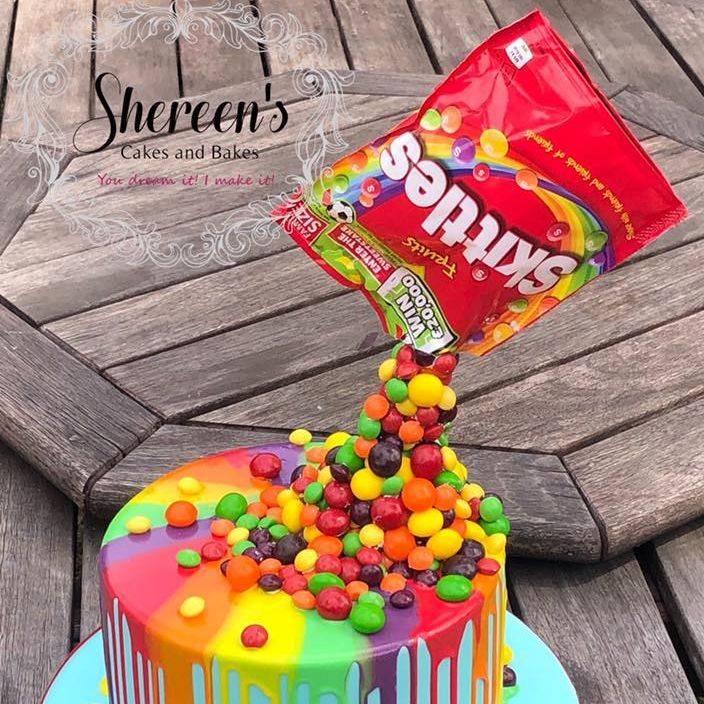 skittles taste rainbow pouring gravity defying cake