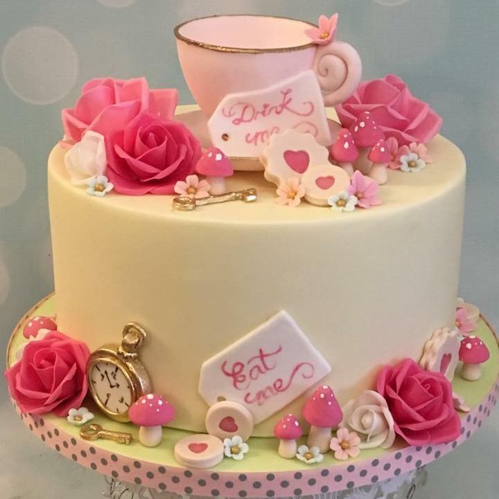 Tea Cake Party Birthday Roses Toadstools Cookies Teacup Key