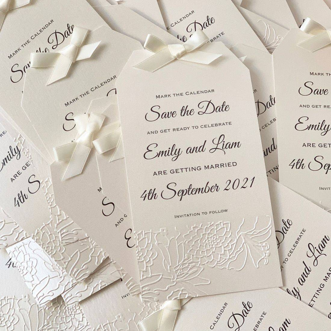 Ivory Magnetic Save the Date tags