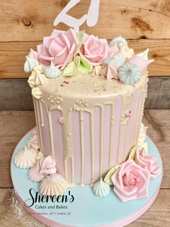 Pretty Pastel Drip Cake with roses and meringues