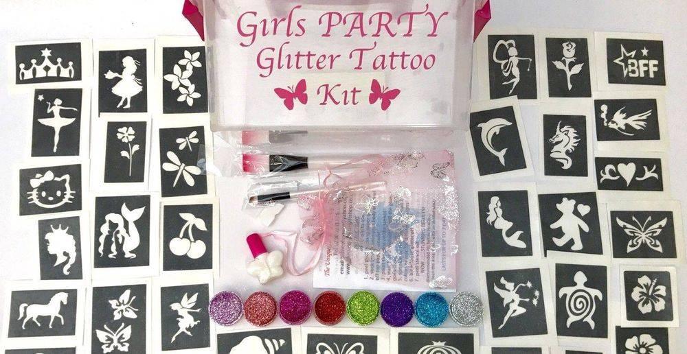 girls glitter tattoo kits and stencils