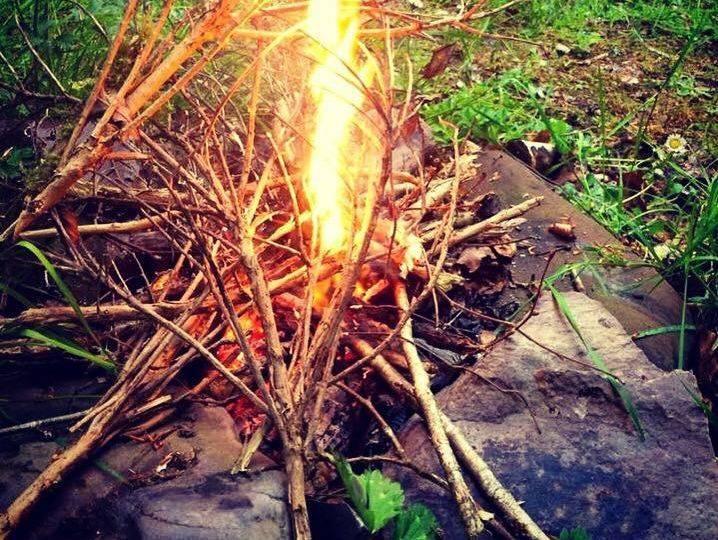 wild camping bonfire