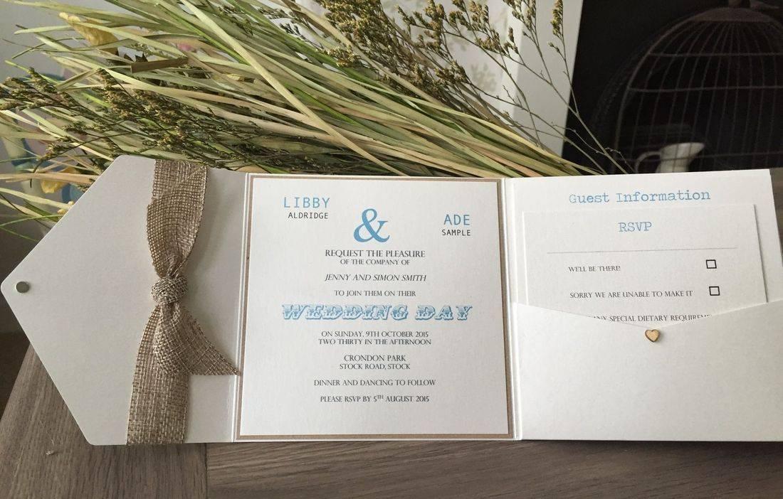 Rustic Wedding Invitation Pocket Fold