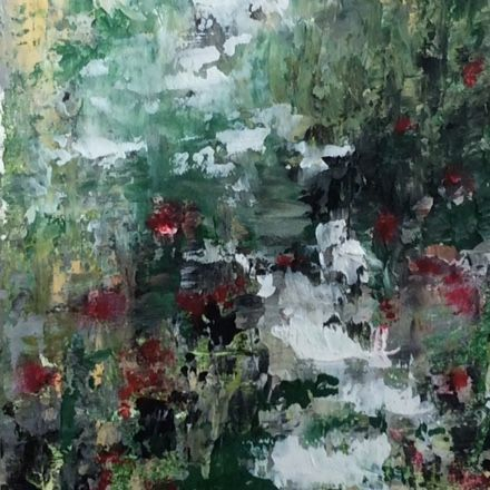 Landscape painting, oil and cold wax painting, abstract painting, greens and black and red, earth tones, home decor, contemporary art, abstract art, nature walk painting