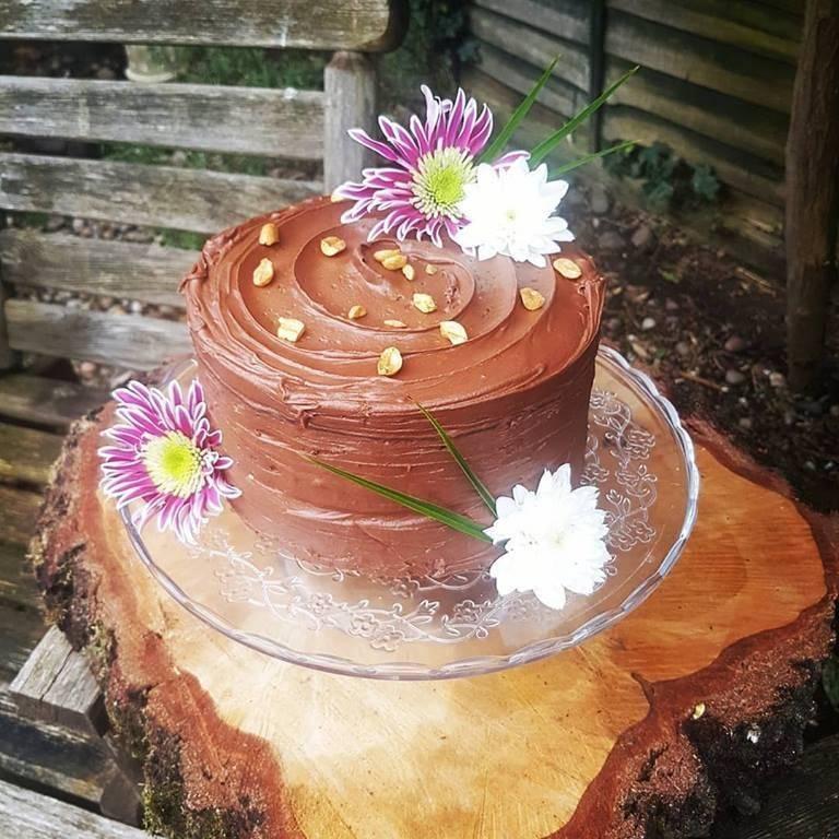 vegan peanut butter chocolate cake in maldon