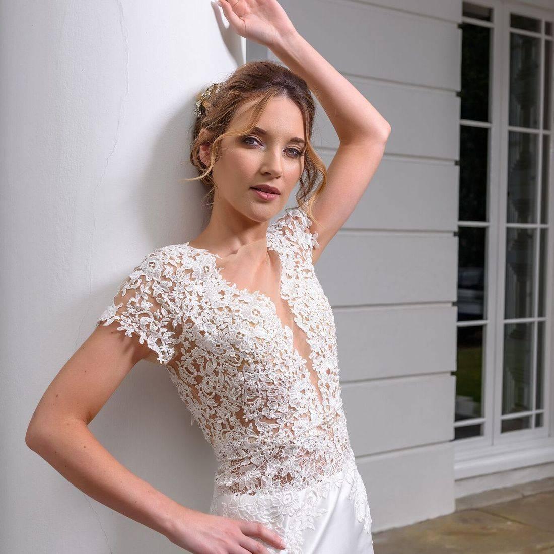mori lee, lace wedding dress, illusion wedding dress, dipped neckline wedding dress, dipped back wedding dress, wedding dress with sleeve, wedding dress with short sleeve