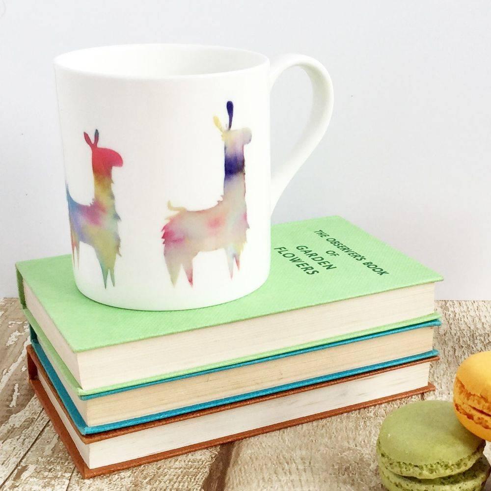 Llama alpaca bone china mug cup watercolour painting