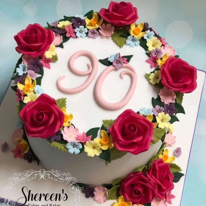 Birthday Cake Pretty Pink Rose flowers daffodil