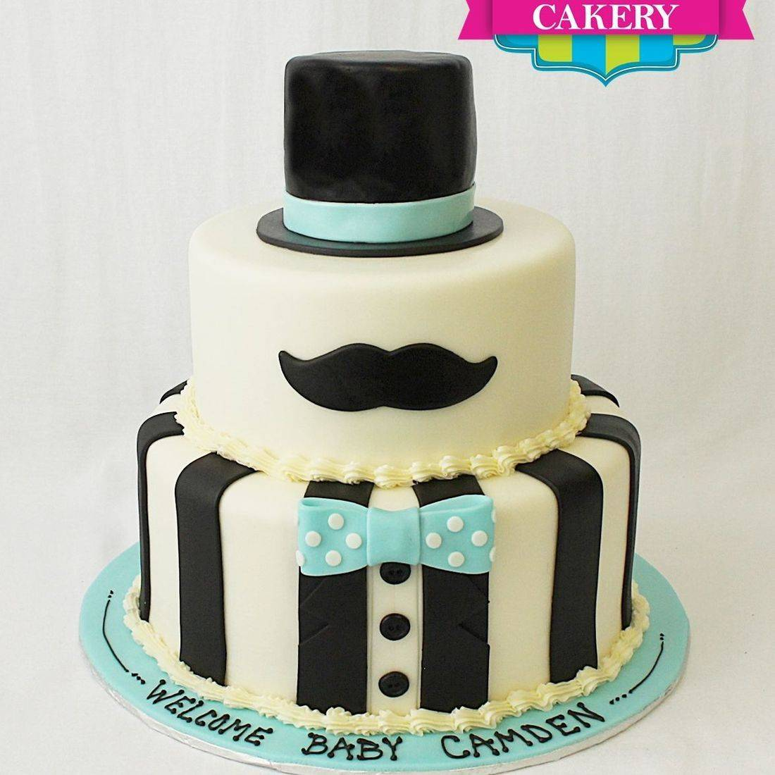 Custom Mustache Top hat cake Milwaukee