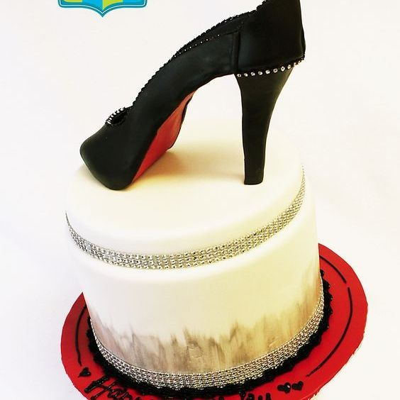 Custom Red Bottom Black High Heel Cake Milwaukee
