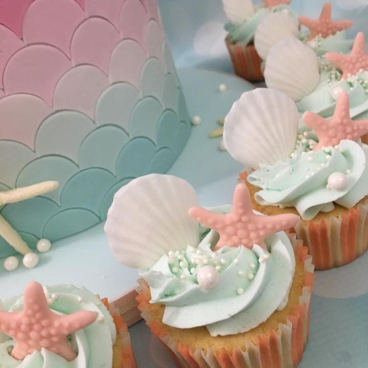 Mermaid Cupcakes Birthday Star Fish Shell Swirl Pearls