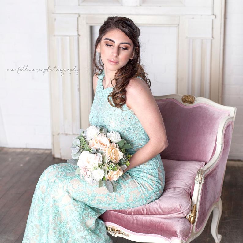 Bridesmaid makeup and curled hair