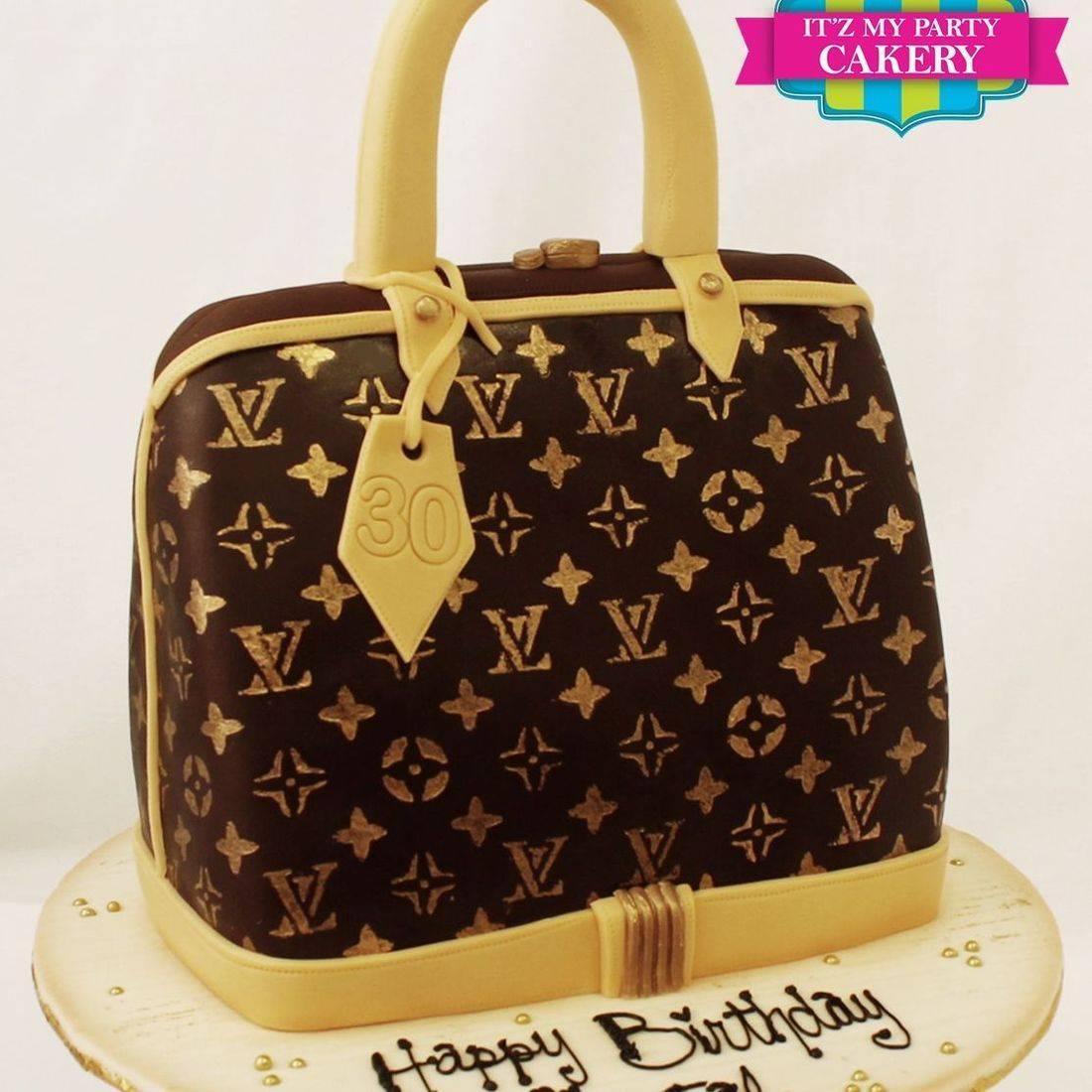 Brown Gold LV Purse Cake Dimensional Cake Milwaukee