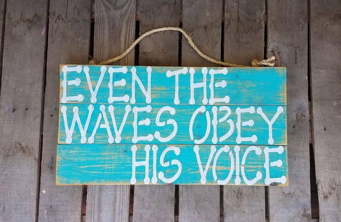 USA Handmade Reclaimed Pallet Wood Beach Sign Decor Waves Faith