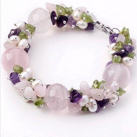 Rose quartz, Peridot, Pearl and amethyst