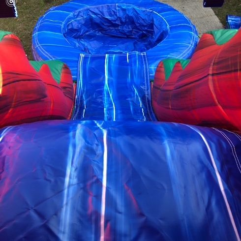 happy Brithday marble castle bounce house waterslide combo