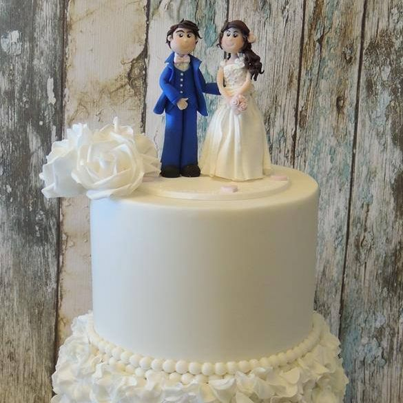 white Rose ruffle wedding cake topper bride groom clay couple