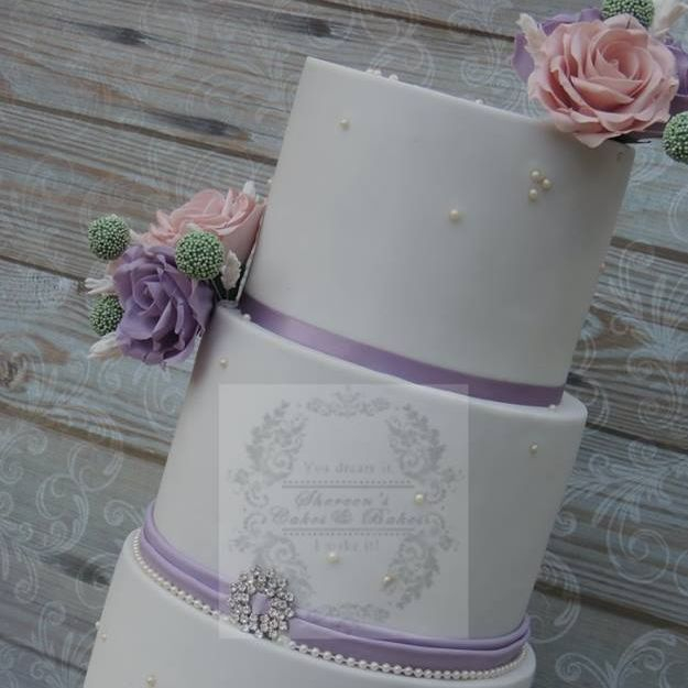 Pink purple rose wedding cake diamante buckle