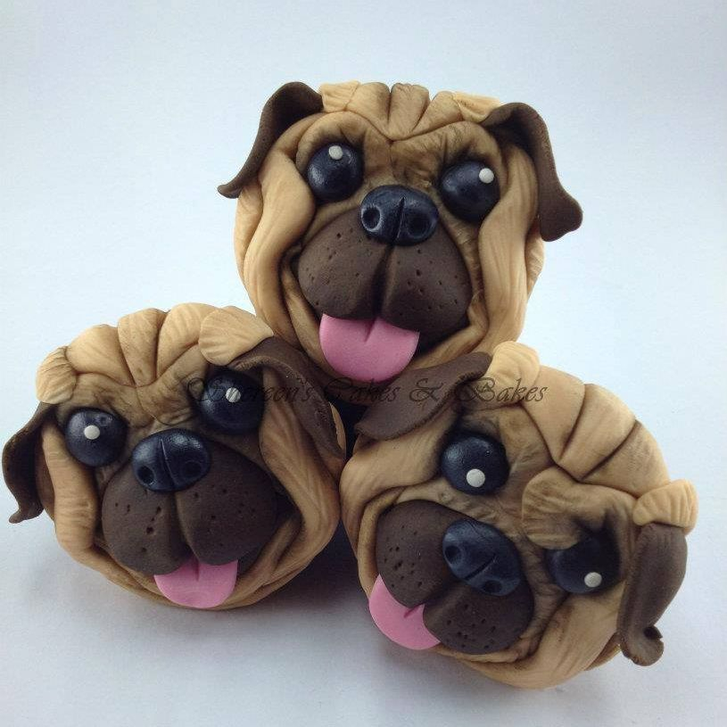 Pug Face Birthday Cupcakes Dog Cute Wrinkles
