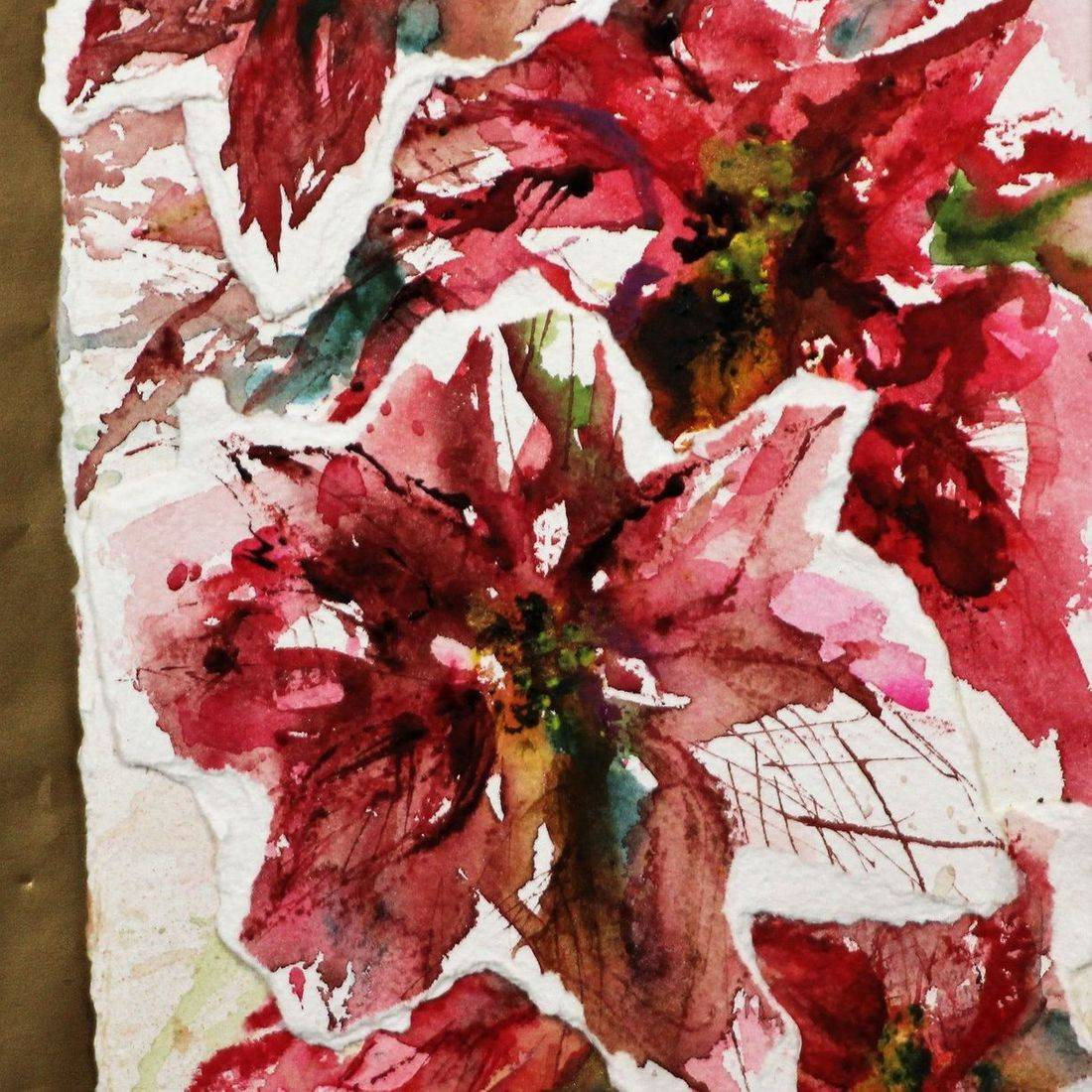 R Putbrese watercolor poinsettia collage painting by Rebecca Krutsinger