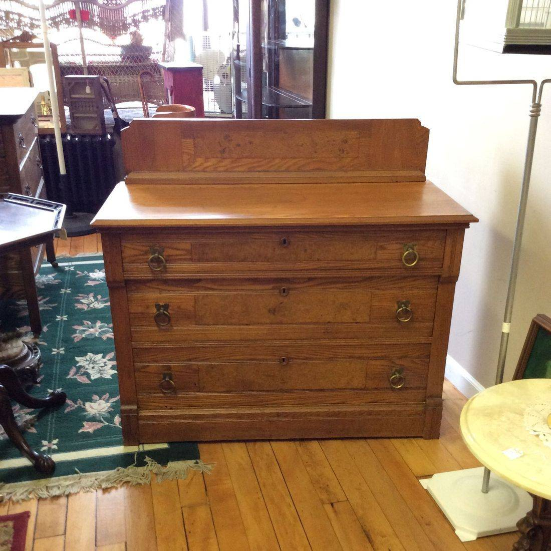 "1880's - 1890's Chestnut 3-Drawer Dresser w/Birdseye Maple Inlay Panels  40-1/2""W x 18-1/2"" D x 28-3/4"" H ( 36-1/4"" H w/Backsplash )   $225.00"
