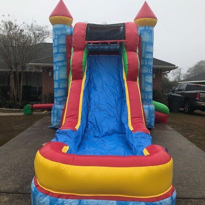 Happy Birthday Bounce house dry slide combo