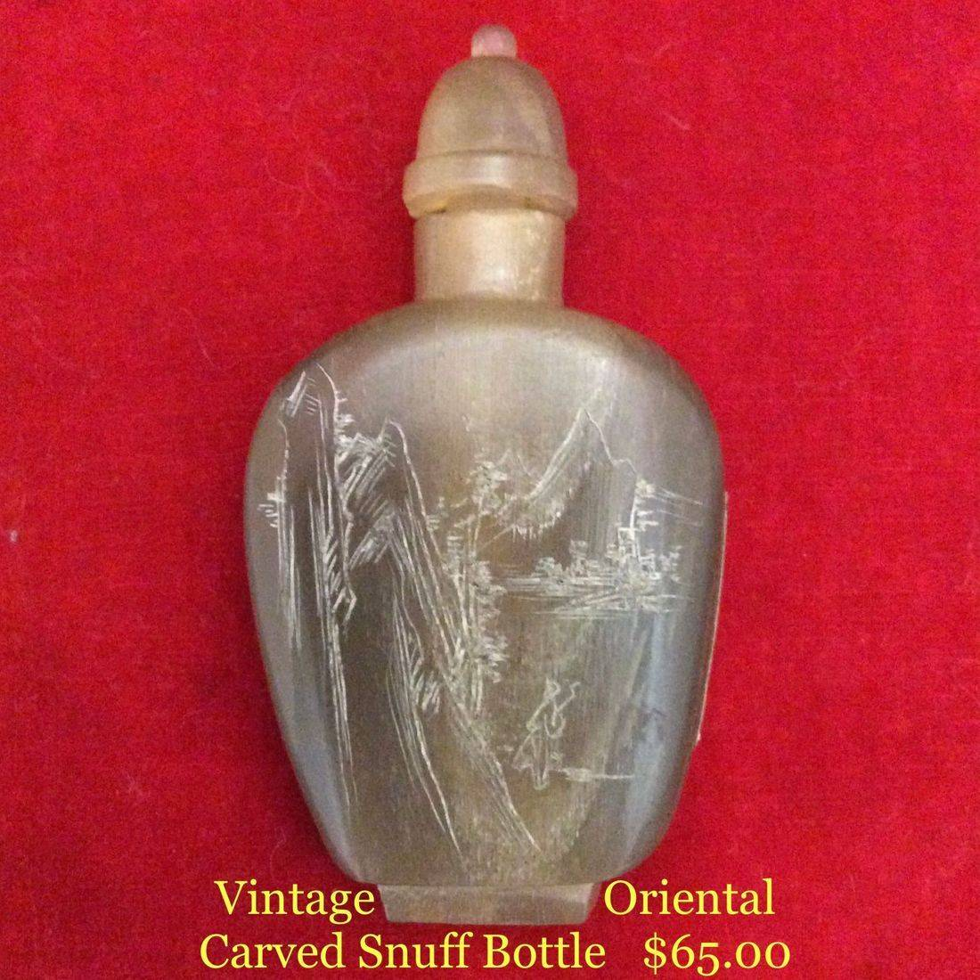 Vintage Carved, Oriental Snuff Bottle  $65.00