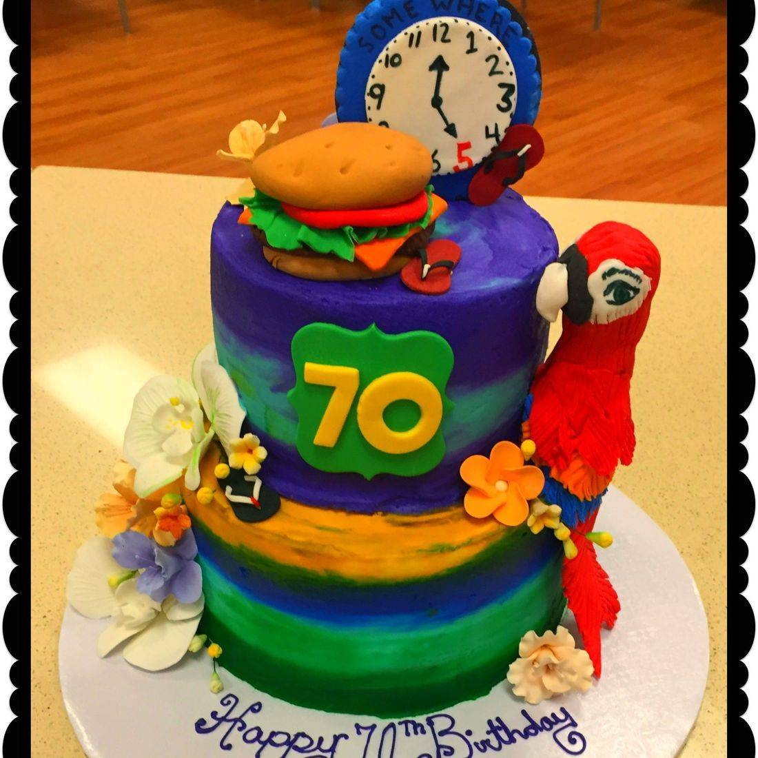 jimmy buffet  theme cake birthday parrot head cake cheeseburger in paradise cake