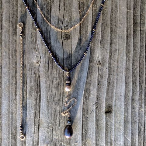 14k gold filled y necklace, with lapis and large pearl pendant