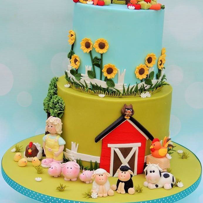 Farm Birthday Cake Farmer Pigs Chicken Chicks Cow Sheep Sunflowers Vegetables Barn
