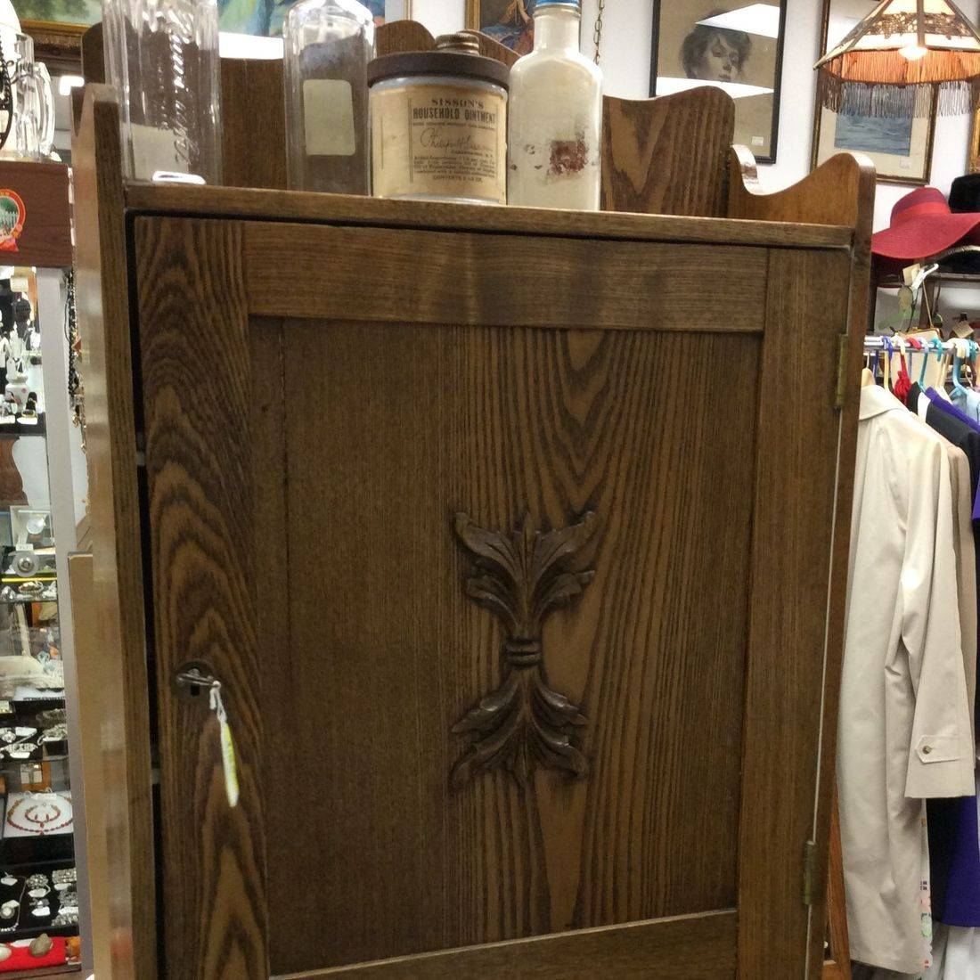 Antique Oak Medicine Cabinet