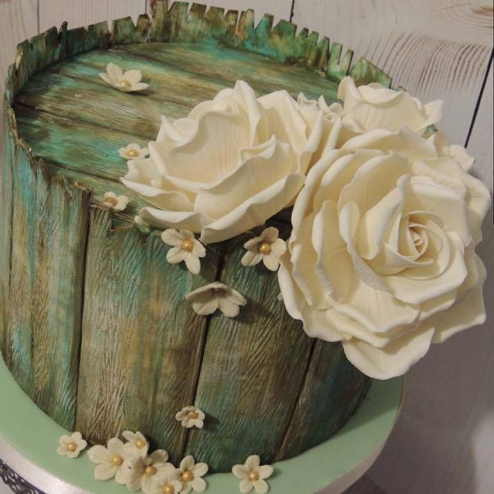 Vintage Rustic Painted Wood Roses Celebration Cake