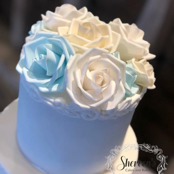 Wedding Cake Blue white Ivory Roses