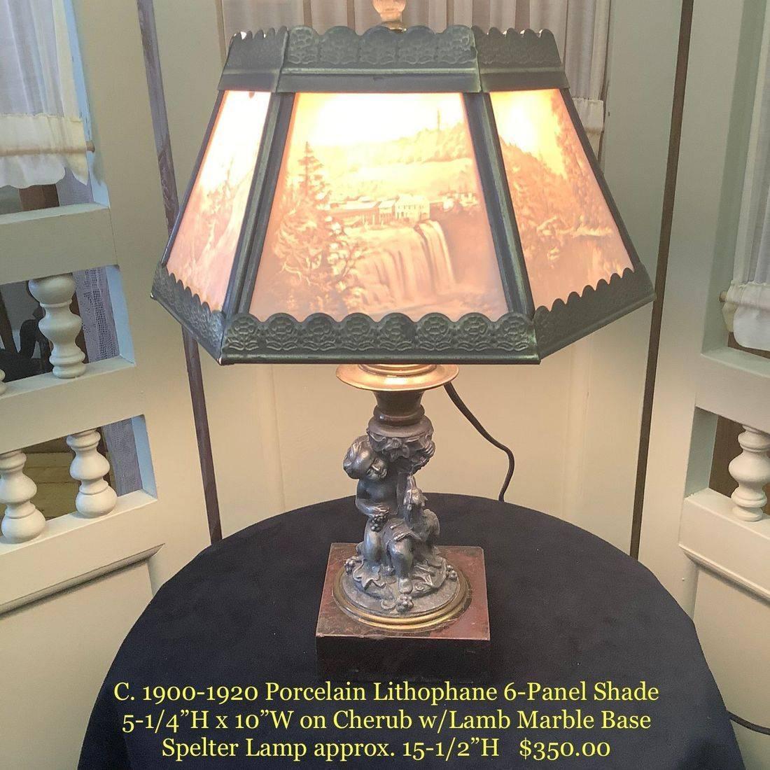 "C. 1900-1910 Porcelain Lithophane 6-Panel Shade on Cherub w/Lamb Marble Base Spelter Lamp  Approx. 15.5""H.   $350.00"