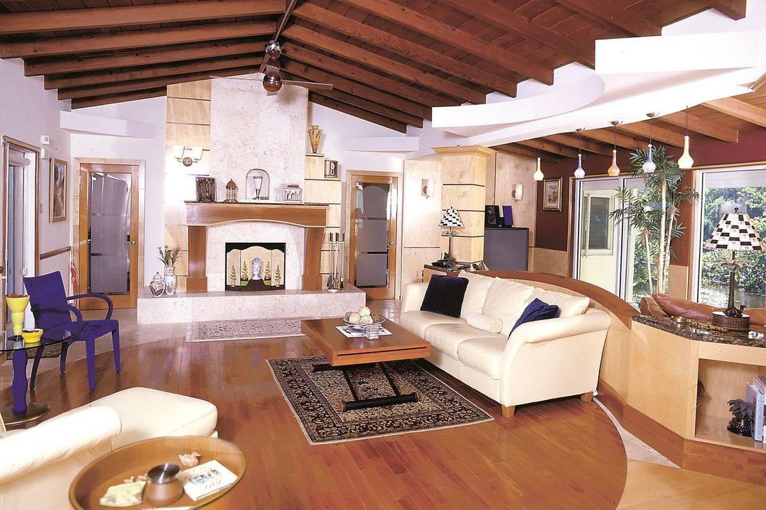 Lockwood estate in Fort Lauderdale modern living room & fireplace