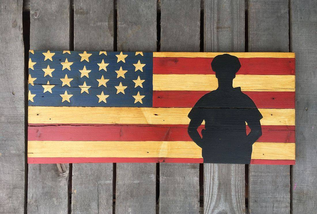 American Flag Handmade Reclaimed Pallet Wood Police Sign  K-9