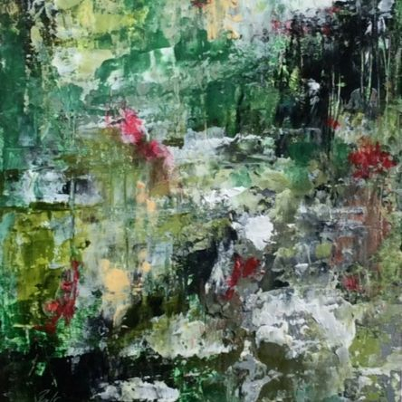 Abstract Landscape painting, oil and cold wax landscape painting, mixed media artist, ethereal art, green and black and red, oil landscape painting