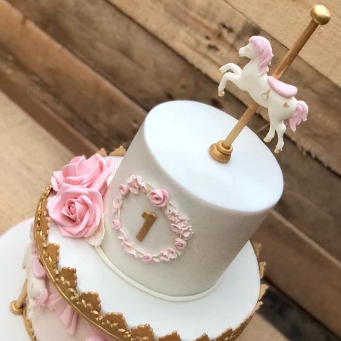 birthday cake carousel horse rose pretty pink