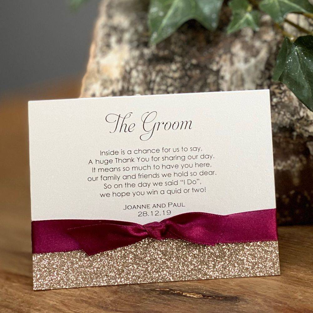 Lottery ticket place name card for wedding favour