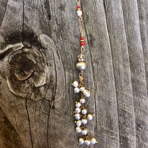 14k gold filled y necklace, with coral and pearls