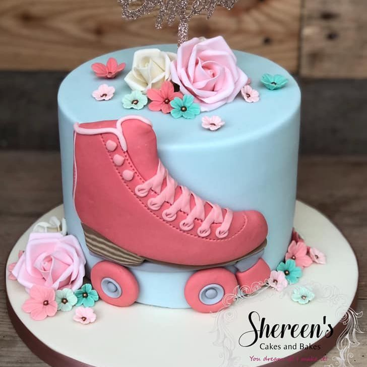 birthday cake roller skate pretty pastel coral turquoise