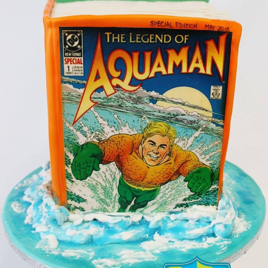 Aqua Man Book Cake Carved Dimensional Cake Milwaukee
