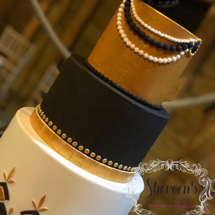 Art Deco Gold Black White Birthday 40th Cake
