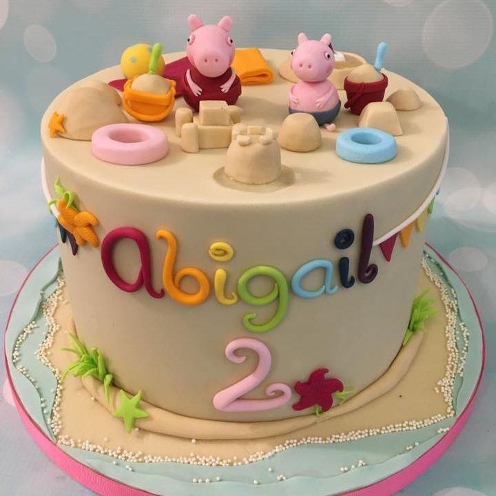 Peppa George Pig Birthday Beach Cake Sand Castle Tube Bucket