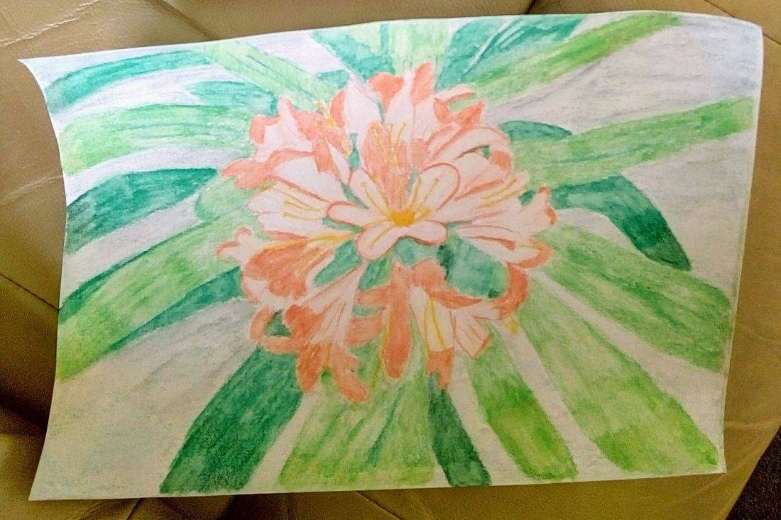 Painting of an orange flower from photo