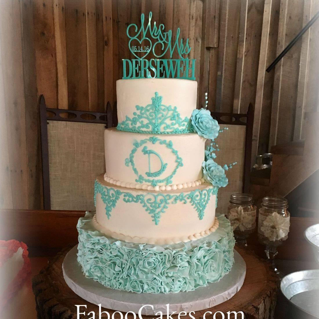 Buttercream Wedding Cake tiffany blue ruffles