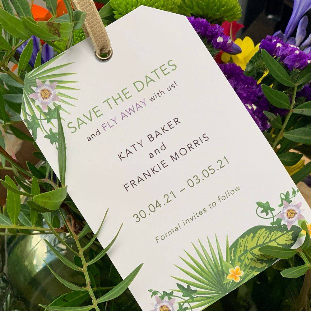 Save the Date card for wedding abroad, tropical wedding,